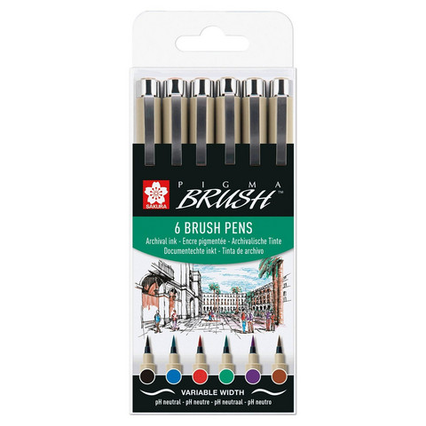 Sakura Pigma 6 Brush pens, eri värejä