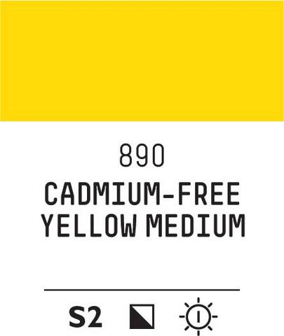Acrylic Gouache 890 Yellow medium (cad. free)