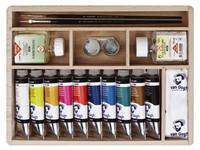 Öljyvärit + tarvikkeet puulaatikossa Van Gogh