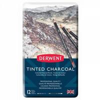 Derwent Tinted Charcoal 12 värillistä hiilikynää