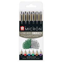 Sakura Pigma 6 micron pens, eri värejä