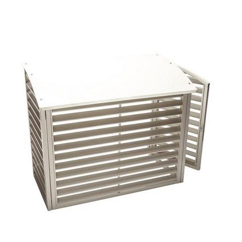 Ilmalämpöpumpun ulkoyksikön suoja metallia valkoinen