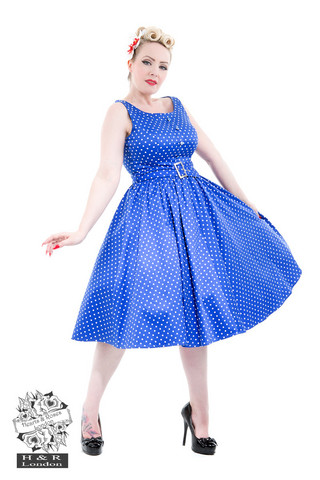 Blue White Polka Dot Dress