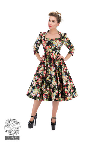 Thorny Rose Bloom 3/4 Sleeve Swing Dress
