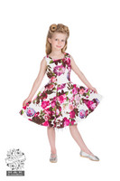 Kids Audrey 50s Cream Floral Swing Dress, lasten kellomekko