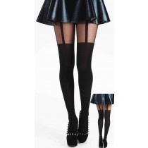 Plain Stripe Suspender Tights-Black