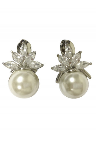 Elegant Pearl DIamante Clip On Earrings