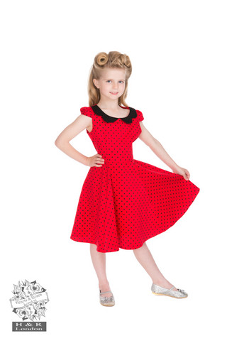 Red Black Dot Dress, lasten kellomekko