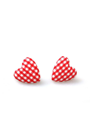Small Gingham Heart Studs