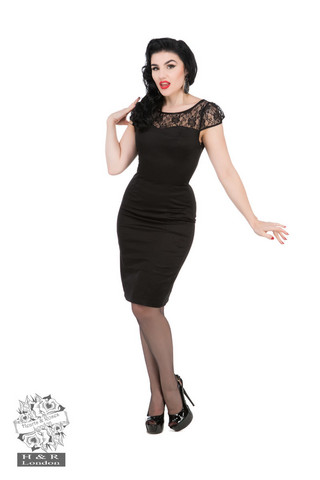 Black Mesh Lace Wiggle Dress