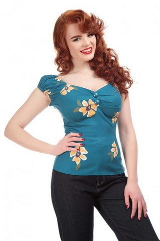 Dolores Apricot Floral Top (2XL, 4XL)