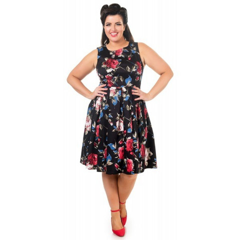 Annie Retro Floral Swing Dress in Black