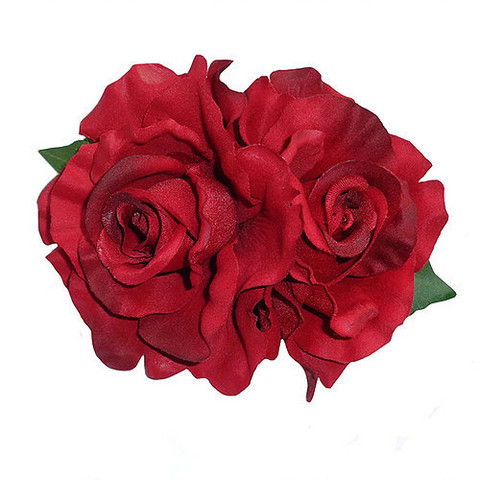 Anita Double Red Rose Hair Flower