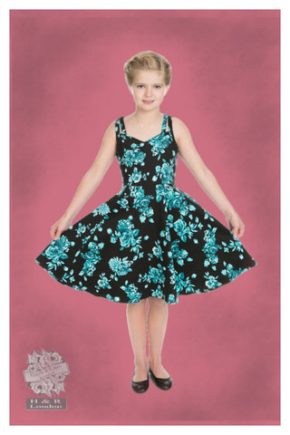 Black Rosaceae Swing Dress (Kids), lasten kellomekko