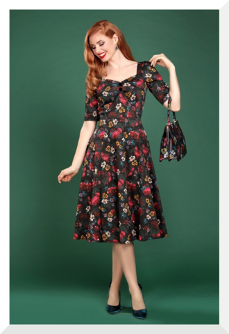 Dolores Midnight Floral Doll Dress, kellomekko