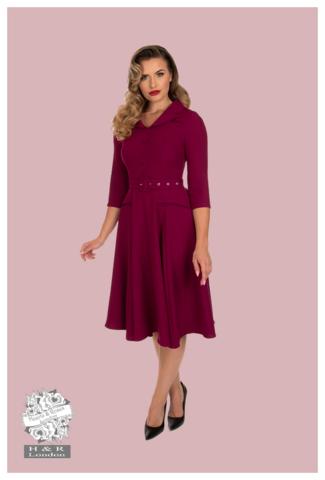 Gabriella Swing Dress in Plum, kellomekko