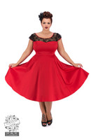 Red Mesh Swing Dress Plus