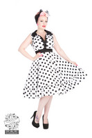 White Black Polka Dot Flared Dress