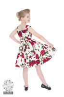 50s Ditsy Rose Floral Summer Dress, lasten kellomekko