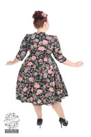 Romantic Bloom ¾ Sleeves Swing Dress in Plus Size