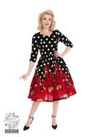 Red Roses Velvet Dress