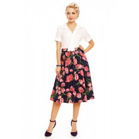 Rita Pleated Swing Skirt in Navy Tulip