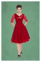 Divine Velvet Swing Dress in Red