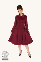 Evelyn Swing Coat in Burgundy, leveähelmainen talvitakki