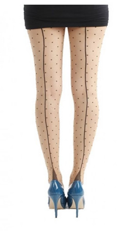 Jive seamed dotty tights, nude/blk