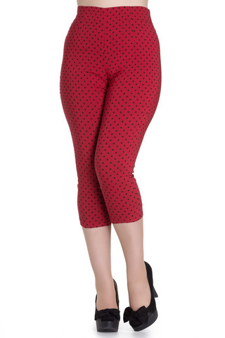5340  Kay Capris, red/blk dots