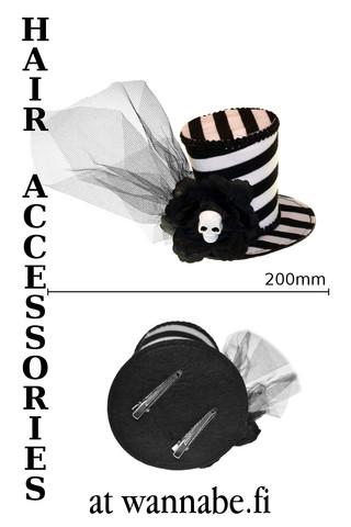 Stripe hat with rose and skull