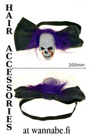 Headband with big bow and white skull
