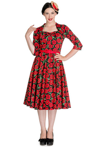 4401 Poppy 50´s dress, blk/red