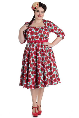 4401 Poppy 50´s dress, blue/red, plus size