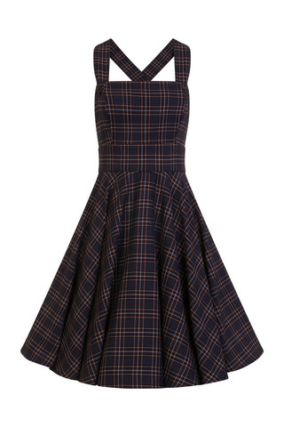 4735 HELL BUNNY PEEBLES PINAFORE DRESS, NAVY