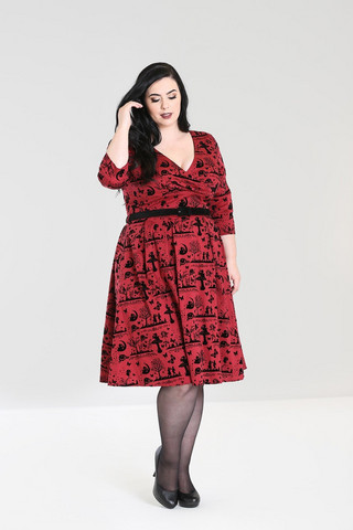 4851 Anderson 50´s dress, red, plus size