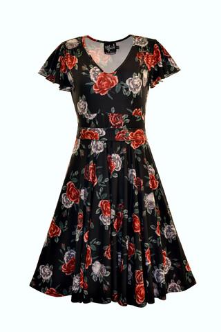 4893 HELL BUNNY ABIGAIL ROSE DRESS, BLACK