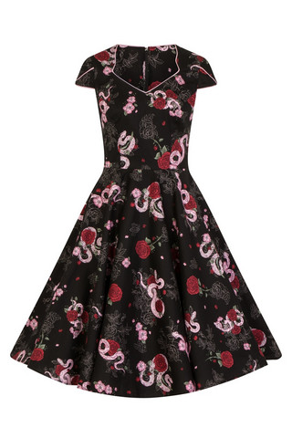4868 HELL BUNNY PYTHON ROSE 50`S DRESS