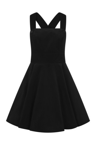HLB40006 WONDER YEARS PINAFORE DRESS, BLK