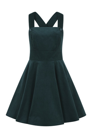HLB40006 WONDER YEARS PINAFORE DRESS, GRN