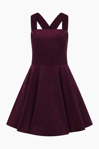 40006 HELL BUNNY WONDER YEARS PINAFORE DRESS, WINE