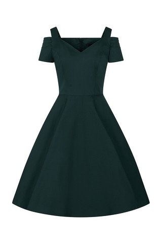 HLB40049 HELL BUNNY HELEN DRESS, DARK GREEN
