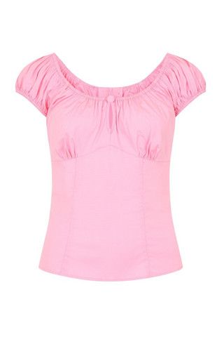 6505 HELL BUNNY MELISSA TOP, CANDY PINK