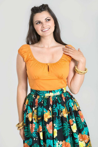 6505 HELL BUNNY MELISSA TOP, ORANGE