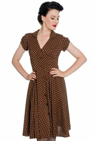 4378 HARRIET POLKA DOT DRESS, TOBACCO
