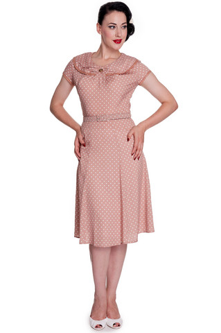 4326 INGRID 40´S STYLE POLKA DOT DRESS, LATTE