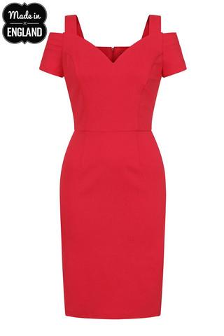 40147 HELL BUNNY HELENA PENCIL DRESS, RED