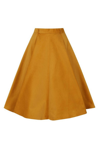 50002 HELL BUNNY JEFFERSON SKIRT, MUSTARD