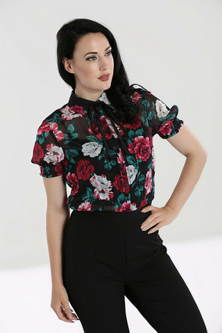 60067 HELL BUNNY BED OF ROSES BLOUSE