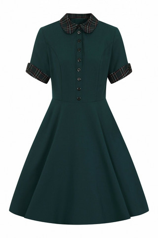 40125 HELL BUNNY TIDDLYWINKS MID DRESS, GRN